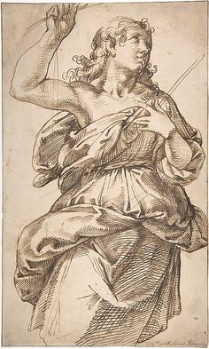 Bartolomeo Passerotti, 1529-1592, Italian, An Angel, 1529-92. Pen and brown ink, over traces of black chalk, on beige paper: 42.6 x 25.7 cm.  Metropolitan Museum of Art, New York.  Mannerism.