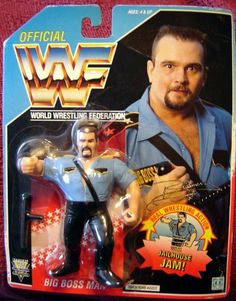 WWF Big Boss Man Wrestling Action Figure by Hasbro. I can remember living upstairs at my Grandparents house and getting this for Christmas. Retro Toys, Vintage Toys, Wwf Toys, Big Boss Man, Wwf Hasbro, Modern Toys, Wwe Elite, Wrestling Superstars, Comic Movies