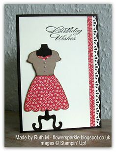 Ruth's stylish card uses the Dress Up Framelits with Print Poetry dsp, Finishing Touches edgelits, & a sentiment from Bring on the Cake.