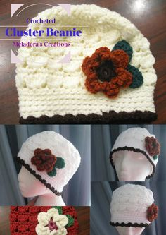Cluster Crochet Beanie - Free Crochet Pattern & Video Tutorials by Meladora's Creations ~ sizes newborn to adult! Crochet Video, Crochet Geek, Crochet Beanie Pattern, Crochet Cap, Easy Crochet, Crochet Stitches, Free Crochet, Crocheted Hats, Crochet Designs