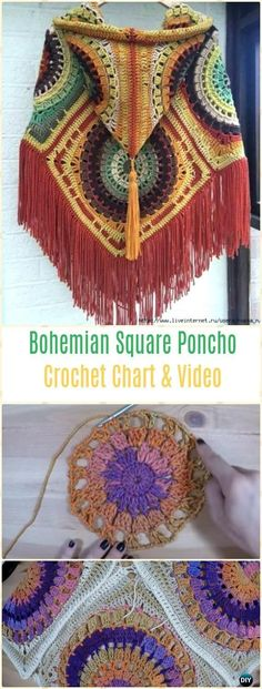 Crochet Bohemian Square Poncho Free Pattern Video – Crochet Women Capes & Poncho PatternsCrochet Women Capes & Poncho Patterns & TutorialsWomen Poncho Free Crochet Amazing Picture of Free Poncho Crochet Patterns Poncho Au Crochet, Irish Crochet, Knit Crochet, Poncho Shawl, Crochet Granny, Poncho Sweater, Easy Crochet, Shawl Patterns, Knitting Patterns