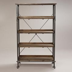 Emerson Shelf with Step --- I LOVE this - want 2 in my living room with a tv console! Cabinet Shelving, Wood Shelves, Glass Shelves, Cow Print Fabric, Rustic Bookcase, Industrial Bookshelf, Contemporary Bookcase, Contemporary Design, Modern Shelving
