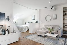 Cool 15 Cozy Small Apartment Studio Decoration Ideas To Inspire You For those of you who are looking for small studio apartment design ideas, we are here to return to inspiring all-round studio apartment design inspira. Small Apartment Bedrooms, Tiny Apartments, Small Apartment Layout, Small Space Living, Small Spaces, Tiny Living, Scandi Living, Deco Studio, Studio Design