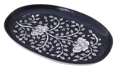 Bulk Wholesale Vintage Oval Hand Painted Ceramic Tray with Floral Motifs – Black & White - Home & Kitchen Accessories Table Accessories, Kitchen Accessories, Handmade Decorations, Table Decorations, Coffee Table Tray, Wedding Crafts, Serving Trays, White Houses, Hand Painted Ceramics