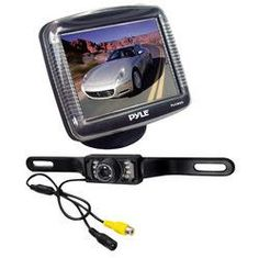 3.5'' Slim TFT LCD Universal Mount Monitor w/ License Plate Mount Rearview Night Vision Backup Camera