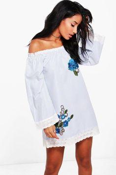 Floral Embroidered Bardot Beach Dress. | dresslover.co.uk
