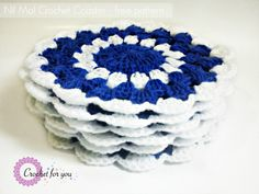 "Nil Mal Crochet Coaster - free pattern. ""Nil Mal"" means blue flowers in my mother language. I made six of them as a gift for my mom's friend."