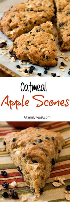 Oatmeal Apple Scones - Simple to make and super moist and delicious!  Chock full of apples, oatmeal and currants.