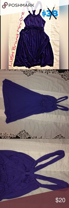 Sexy Royal-colored M LUSH Mini-Dress x-strap back This royal-purple super cute & very comfortable MEDIUM sized Lush Brand Mini-dress is in great shape and will sale fast! It's the time of year! Straps go straight up in front and make an ex with stationary pre-made knot in the back! The Style # is D9919 and the cut # is 0807043. As with everything i try with the best of my ability to ship any orders purchased before midnight (many times as long as it's during the early morning too) by the…