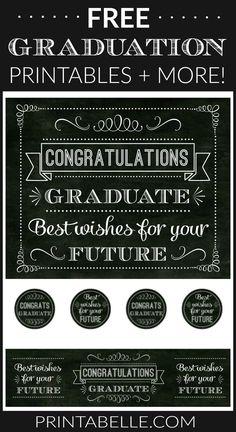 Free Chalkboard Graduation Printables + extras! – Free Party Printables at Printabelle