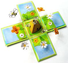 Buttercups & Daisies Exploding Box by Elaine