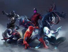 Spider-Man, Venom,Carnage, Spider-Man 2099,Miles Morales,Agent Venom,Spider-Gwen