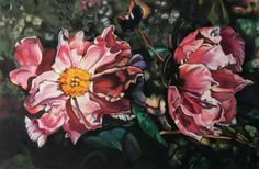 Peony, Serie: Velvet Flowers, pastel on velours, drawing, Ute Latzke