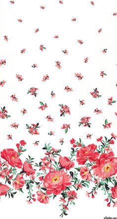 Bed of Roses - Cabbage Rose Border - Dk Coral