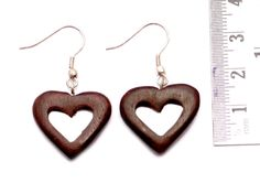 A Pair of Heart Shape Valentine Special Danglers Wood Wooden Earrings Sew_323 #KrsnaJewelsIndia #DropDangle #Boho Earrings #Dangler Earrings #Wooden From India