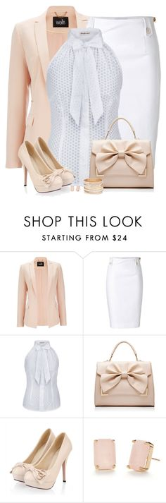 """White"" by daiscat ❤ liked on Polyvore featuring Wallis, Moschino, Forever New and Kate Spade"
