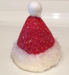 Strawberry Santa hat - how cute is this?! :)