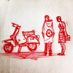 Mods Vespa Illustration, Club Poster, Rude Boy, Vespa Scooters, Ad Art, Mod Fashion, Sewing Patterns, Sketches, Skinhead