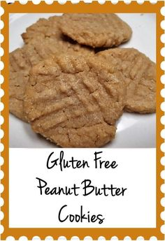This recipe for gluten free peanut butter cookies is really easy to make. It only requires 4 ingredients, all of which most people already have on hand! Easy Gluten Free Desserts, Gluten Free Cookie Recipes, Gluten Free Pancakes, Healthy Cookie Recipes, Healthy Cookies, Gluten Free Baking, Free Recipes, Healthy Desserts, Gluten Free Peanut Butter Cookies