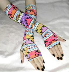 Vibrant Gothic Arm warmers Aztec fingerless Gloves sleeves - Chimera- Tribal ethnic goth bohemian belly dance fusion dance multicolored by Mellode on Etsy