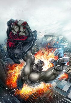 Ultimate Spiderman Hulk 201203-Colours  by ~Debreeze