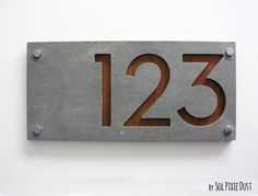 Modern House Numbers, Rectangle Concrete with Marine Plywood - Contemporary Home Address - Sign Plaque - Door Number