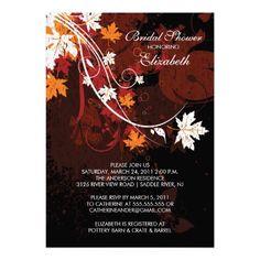 Fall Leaves Bride Bridal Shower Invitation Autumn