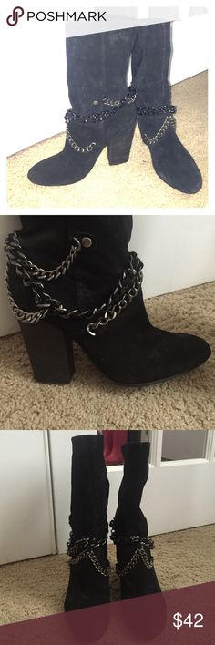 Nine West Back Suede Chain Boots Size 7M😘😘😘 Title says it All😘😘 These boots are rock and roll tough girl chic. The chains set these boots off. They are in excellent condition. They were worn one time for a local photo shoot. Other than that they have been in a wardrobe closet unused. Open to all reasonable offers. No low balls please and thank you 😘😘😘 Nine West Shoes Heeled Boots