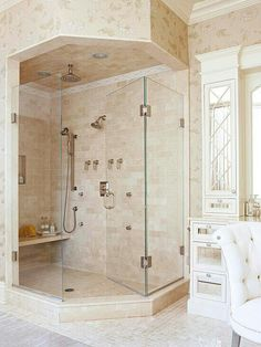 Want to feel royal? Try this tan, white and gold color scheme.  The shower design also presents itself as a shower who will cater to you.