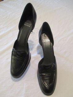 "Stuart Weitzman Black Leather 3"" Heel Closed Toe Pumps 8.5 N Shoe #StuartWeitzman #PumpsClassics #WeartoWork"
