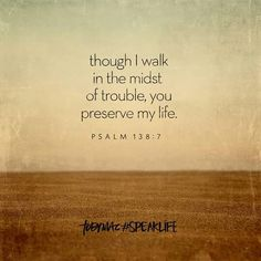 Psalm 138:7  - though I walk in the midst of trouble, you preserve my life.