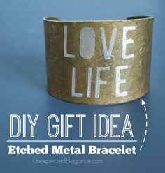 Need a great handmade and inexpensive gift idea? Check out this 10 Minute DIY Engraved Metal Bracelet tutorial. Great for a personalized gift.