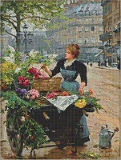Flower Seller III Cross Stitch Pattern by Avalon Cross Stitch on Etsy