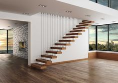 Staircase Contemporary, Staircase Design Modern, Staircase Railing Design, House Staircase, Home Stairs Design, Staircase Remodel, Modern Stairs, Interior Stairs, Home Room Design