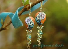 leaping lily pads - lush long gemstone earrings - reserved for msrita (final payment)