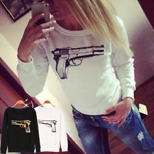 A 3D Gun Print Personal Hoodies Women Loose Long Sleeve Sweater Tops Black White