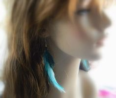 Blue Turquoise Feather Earrings by RosesDesigns on Etsy, $14.00