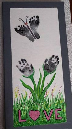 of The BEST Hand and Footprint Art Ideas! Kids crafts with homemade cards, canvas, art, paintings, keepsakes using hand and foot prints! Kids Crafts, Baby Crafts, Toddler Crafts, Crafts To Do, Preschool Crafts, Easter Crafts, Mothers Day Crafts For Kids, Stick Crafts, Family Crafts
