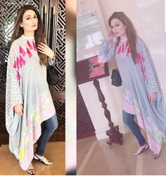 for this Tailer fit designer wear Kurta Designs, Blouse Designs, Stylish Dresses, Simple Dresses, Casual Dresses, Trendy Outfits, Estilo Abaya, Hijab Fashion, Fashion Dresses