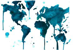 watercolor world map, a teal world