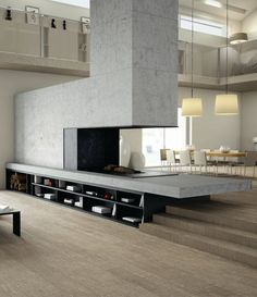 #Porcelain stoneware wall/floor #tiles PRINTS VESTIGE 2.0 by @INALCO Cerámica #wood #fireplace #interiors #design