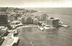 Phoenicia Hotel under construction, 1961 Paris Skyline, New York Skyline, Baalbek, Beirut Lebanon, Beautiful Hotels, Grand Hotel, Under Construction, Where The Heart Is, Historical Photos