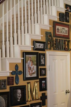 Staircase ideas, great use of odd wall space!