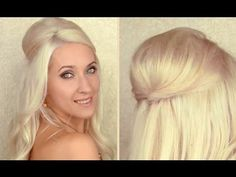 Half up half down hairstyle with a perfect poof / bump for medium and long hair tutorial | PopScreen