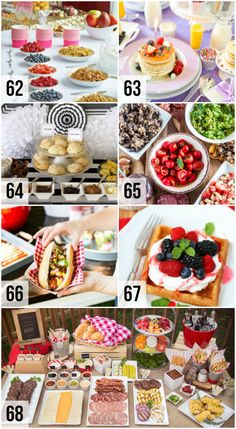 Best Unique Food Bars for Parties! A whole collection of the best food bar ideas and party food recipes. Potluck Dishes, Potluck Recipes, Cooking Recipes, Work Potluck, Party Recipes, Holiday Recipes, Breakfast Recipes, Party Food Bars, Easy Party Food