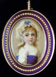 Minature of Princess Charlotte as a Child  minature by Abraham Daniel, circa 1798-9, of Princess Charlotte Augusta as a child in white dress with wide blue sash and frilled white bonnet decorated with matching blue ribbon.