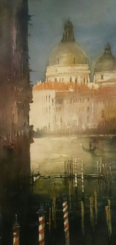 Jacek Jaroszewski- Venice- watercolour 50x24 cm, 2015