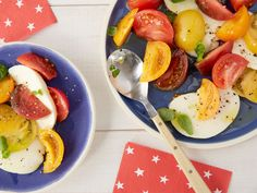 Tomato, Mozzarella and Basil Salad : Ina Garten's five-minute appetizer is a beautiful display to have on your picnic table. Vary the color of your tomatoes to get the most-appealing presentation.