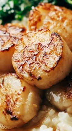 Brown Butter Scallops with Parmesan Risotto