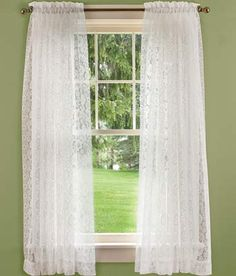 Country Floral Lace Rod Pocket Curtains | Country Curtains | more gorgeous in person! white or ecru